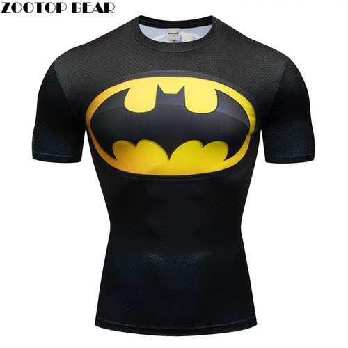 Marvel batma shirts fitness 3D t-shirt Super hero Compression quick dry Breathable Bodybuilding Tops Short Sleeve Fitness