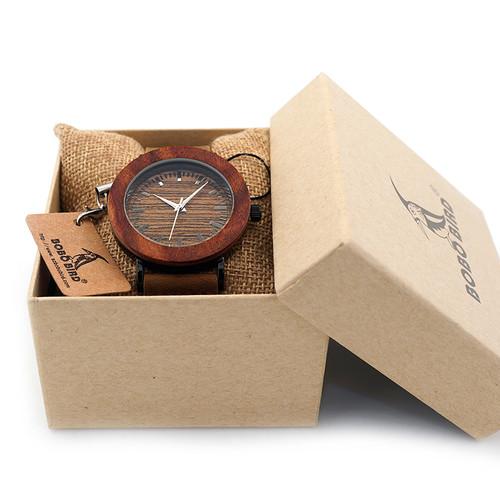 2017 BOBO BIRD Luxury Brand Womens Watches Genuine Leather Strap Wood Watch for Ladies Gifts Relogio Masculino C-K20