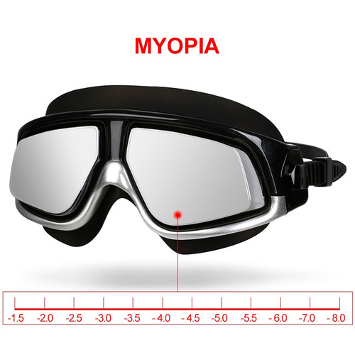 Copozz nearsighted Swimming Goggles Waterproof Anti Fog UV Eyewear Silicon Mirrored Large Frame unisex Sport Myopia Swim Mask