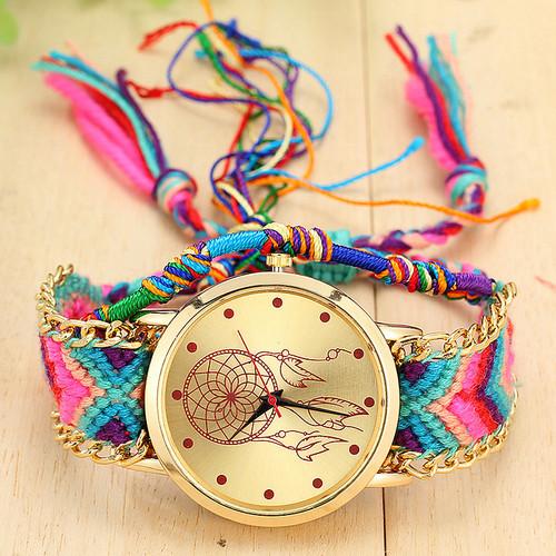 Vansvar Brand Handmade Braided Dreamcatcher Friendship Bracelet Watch Ladies Rope Watch Quarzt Watches relogio feminino 1468
