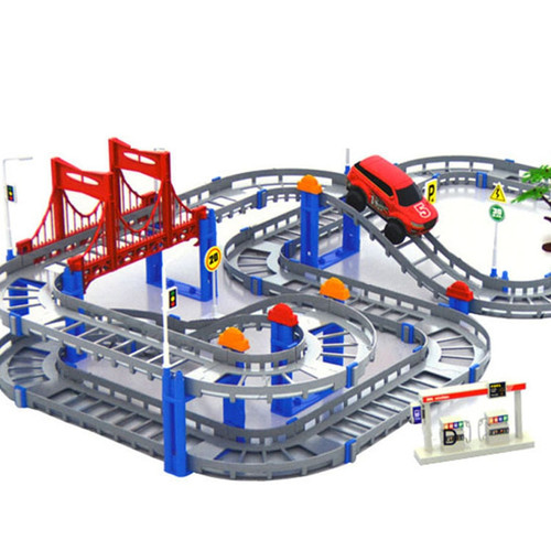 Kids Multilayer Electric Rail Car Construction Vehicles Toy Assembled Puzzle Train Track Building Blocks Educational Toys Gif