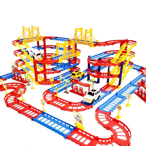 DIY 3D Electric Rail Car Train Track Multilayer Construction Vehicles Model Assemble Educational Toys Gift For Kids Children Boy