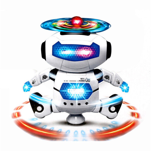 360 Rotating Space Dancing Robot Musical Walk Lighten Electronic Toy Christmas Birthday Best Gifs For Kids Toys Free shipping