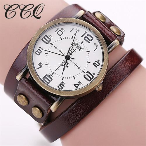 CCQ 2016 Vintage Cow Leather Bracelet WristWatch Luxury Casual Women Quartz Watch Relogio Feminino 1347