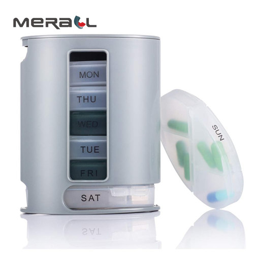 Weekly Pillbox Tablet For 7 Days Plastic Storage Container Divider Dispenser Holder Medicines Mini Drugs Gray Health Care Device