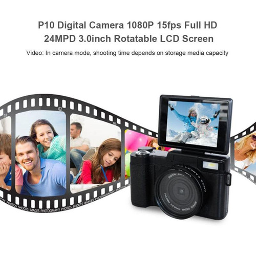 Alloyseed P10 Digital Camera 1080P 15fps Full HD 24MP 3.0inch Rotatable LCD Screen Video Camcorder Wide Angle Lens Cameras