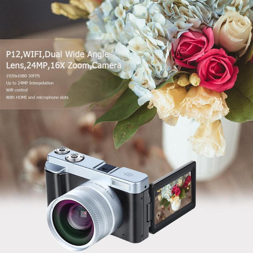 2019 New P12 Flip Screen Wireless WIFI Dual Wide Angle Lens Full HD 1080P 24MP 16X Zoom Digital Camera Video Recorder