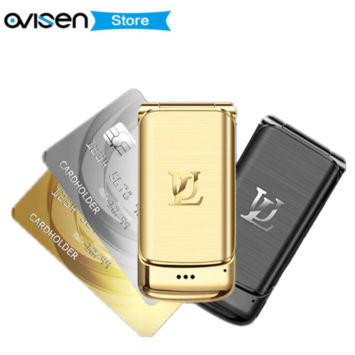 Luxury Mini Flip Mobile Phone Ulcool V9 1.54 Inch Tiny Screen Dual SIM Bluetooth Dialer Anti lost Smallest Metal Body CellPhone