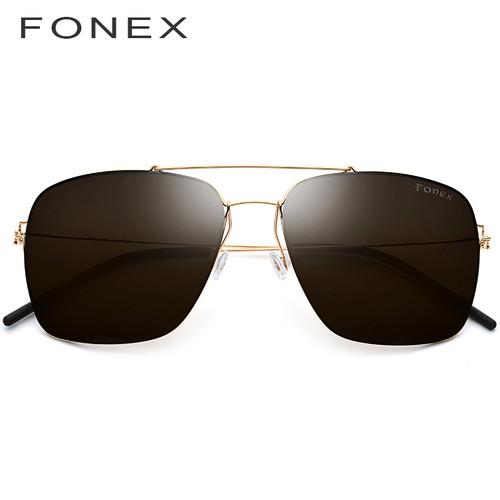 FONEX Polarized Sunglasses Men Ultralight 2019 Brand Design Mirror Alloy Oversize Square Sun Glasses for Men Screwless Eyewear