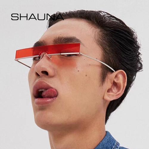 SHAUNA Fashion Half Frame Small Rectangle Sunglasses Women Brand Designer Ins Popular One Piece Red Shades Men