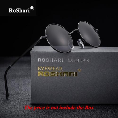 RoShari Vintage Steampunk polarized sunglasses women brand design men Round black frame black lens Sun glasses men gafas de sol
