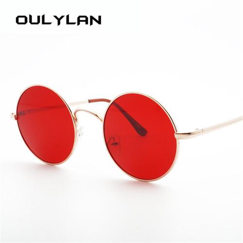Oulylan Retro Round Sunglasses Men Women Brand Designer Red Sun glasses Female Vintage Metal Big Sunglasses UV400 Mirror Shade