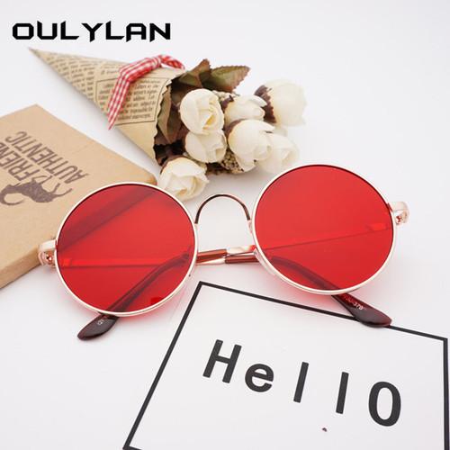Oulylan Retro Round Sunglasses Men Women Brand Designer Red Sun glasses Female Vintage Metal Big Sunglasses UV400 Mirror Shades