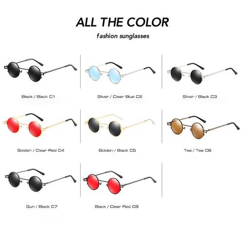 SHAUNA Retro Small Round Punk Sunglasses Men Vintage Clear Red Tinted Sun Glasses Women