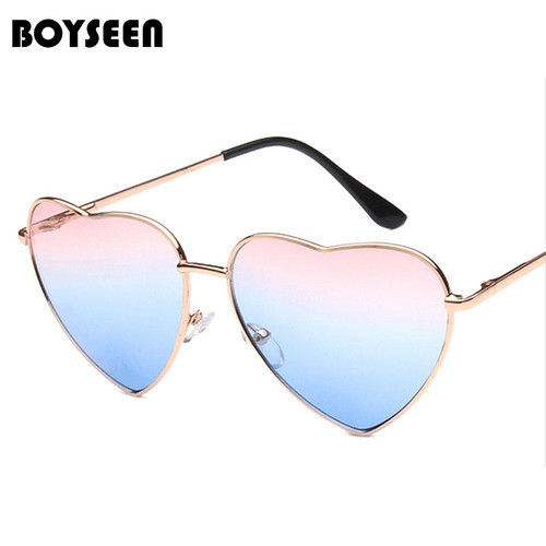 BOYSEEN Heart Shaped Sunglasses WOMEN metal Reflective LENES Fashion sun GLASSES MEN Mirror oculos de sol NEW 014