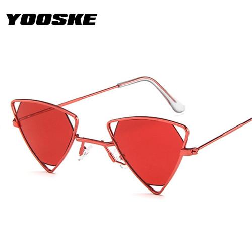 YOOSKE Steampunk Sunglasses Women Trendy Triangle Small Sun Glasses Men Metal Frame Brand Designer Sunglass Female Goggle UV400