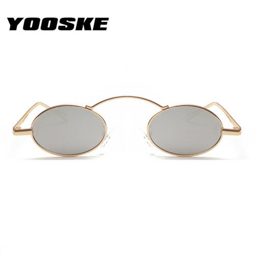 YOOSKE Women Men Sunglasses Round Metal Frame Brand Designer Mirror Eyewears Retro Females Male Sun Glasses UV400