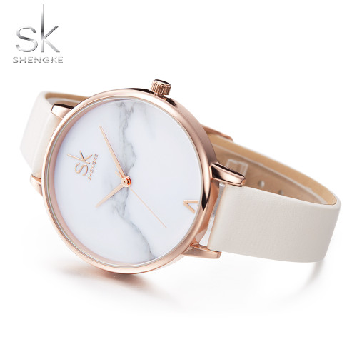 Shengke Fashion Women Watches Elegant Female Wrist Watches  White Leather Watches Quartz Clock Montre Femme Marble Dial 2017 SK