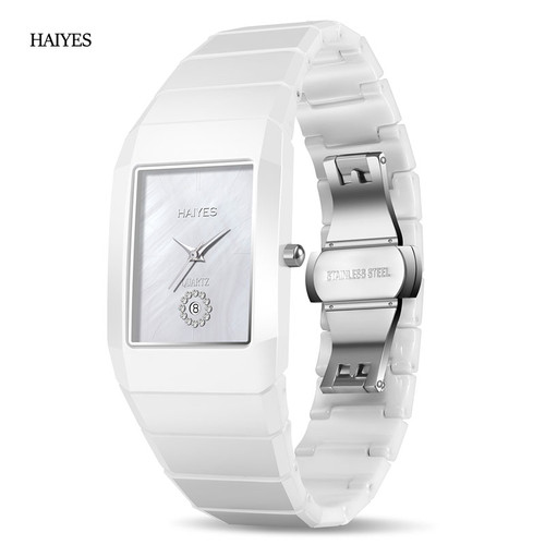 HAIYES Ceramic Watch Men and Women Fashion Waterproof Black Ceramic Watches White Woman Lovers Montre Femme Relogio Feminino