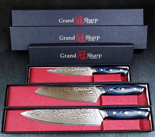 GRANDSHARP 3pcs Damascus Knife Set 67 Layers Japanese Damascus Steel vg10 Chef Santoku Utility Kitchen Knives  Pro Tools NEW