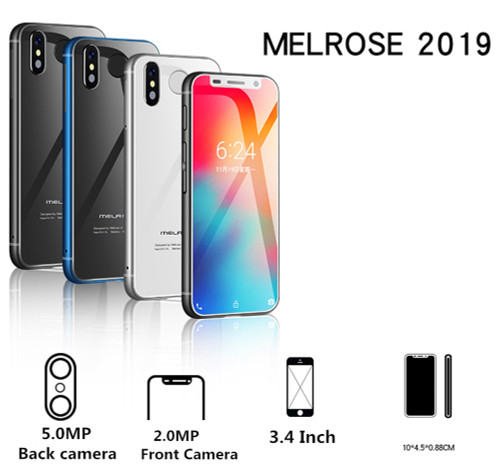 Super Mini Smartphone Melrose 2019 Ultra Slim 3.4'' MTK6739V 1GB 8GB Android 8.1 Fingerprint ID 5MP 4G Mobile Phone PK S9 Plu