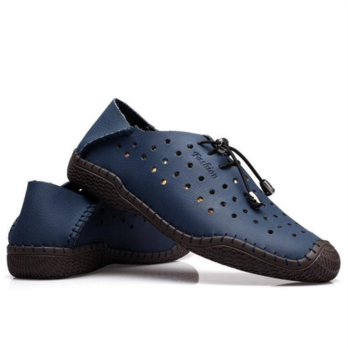 New 2018 Summer Brand Casual Men Shoes Mens Flats Luxury Genuine Leather Shoes Man Breathing Holes Oxford Big Size Leisure Shoe