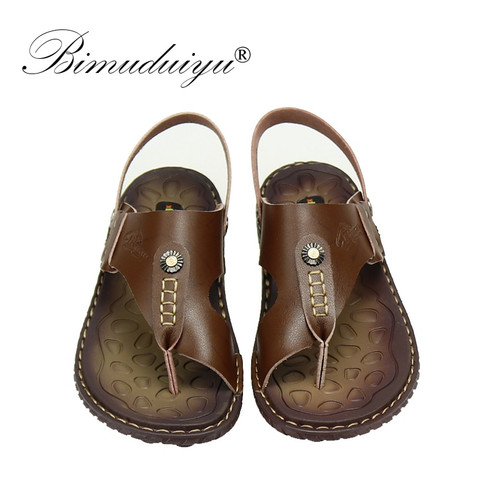 BIMUDUIYU Brand 2018 Beach Shoes Fashion Men Sandals And Slippers Two In One Casual Shoes Leather Sandals Open toe Summer Shoes