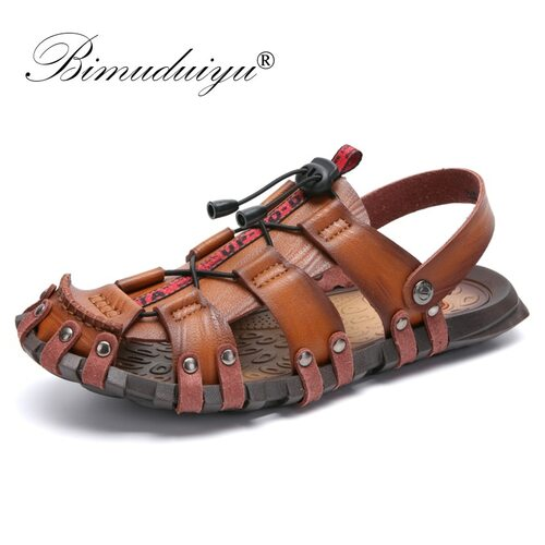 BIMUDUIYU 2019 New Sandals Men Shoes Closed Toe Beach Lightweight Slippers Sandals Classic Roman Sandals Outdoor Sneaker Shoes
