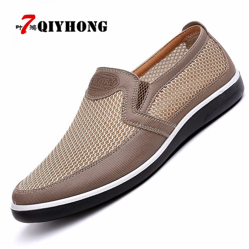 New Listing Summer Breathable Mesh Men Shoes Lightweight Men Flats Fashion Casual Male Shoes Brand Designer Men Loafers Beige
