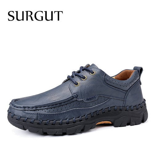 SURGUT Brand New Leather Shoes Men Weaving Sewing Thread Classic Luxury Business Men Casual Breathable Soft Footwear Male Flats