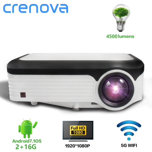 CRENOVA Newest 1920*1080P Android Projector For 4k Video Led Projector With Android 7.1 OS Wifi Bluetooth Full HD Beamer