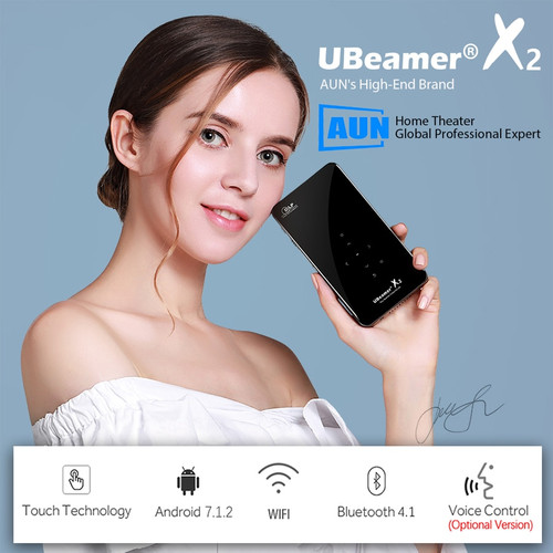 AUN MINI Projector X2, WIFI Android Touch Control (Optional Voice Control, RAM:2G ROM:16G)Support 1080P, Portable 3D Home Cinema