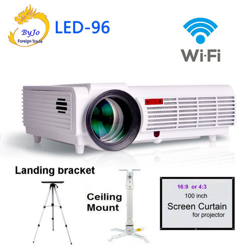 Poner Saund LED96 wifi led projector 3D android With curtain or stand BT96 proyector HDMI Video Multi screen Home theater system