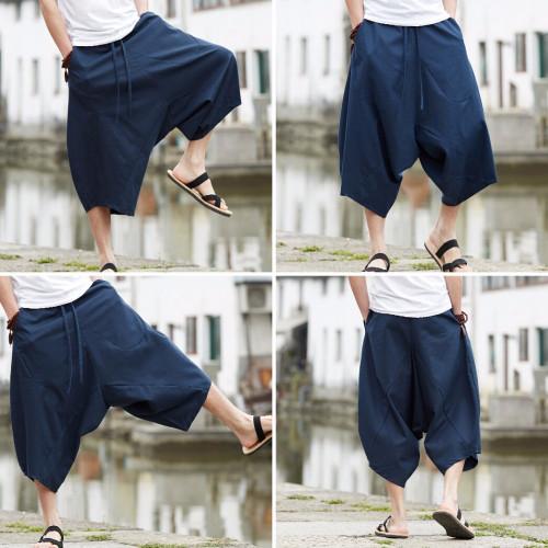 2018 New Fashion Cotton Thailand Shorts Bloomers Men Loose Linen Harem Shorts Nepal Seven Wide Leg Big Size Beach Shorts Summer