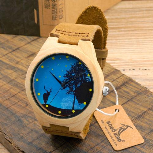 BOBO BIRD Pop Blue Dial Wood Watches Men's Top Design Genuine Band Bamboo Wooden Watches Women Casual Wrist Watch male Relogio