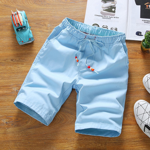 Fashion Summer Style Beach Men Shorts Loose Beading Drawstring Men Short Pants Active Clothes Shorts Men Sliver 2019 MQ286