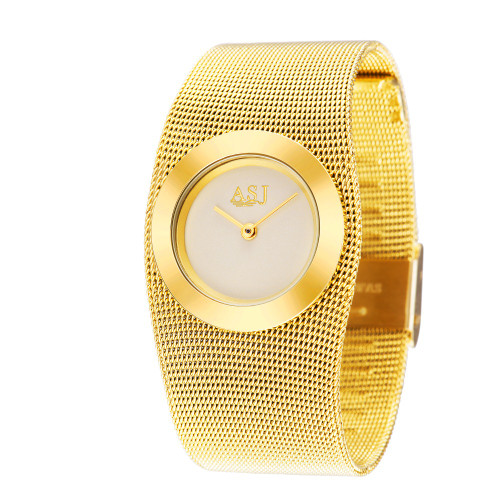 2017 Fashion 18k Gold Mesh Steel Luxury Bracelet Women Clock Casual Top Brand Design Dress Ladies Simple Watch Relogio Feminino