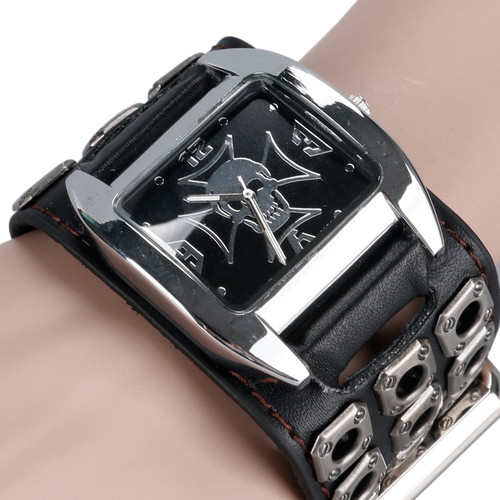 Skull Hollow Leather Band Strap Gift Accessories Rock Gothic Style Analog Men Quartz Wrist Watch Skull Punk Casual Relojes Hour