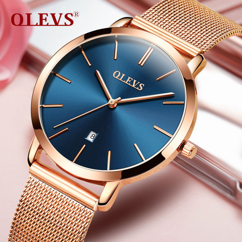 Genuine watch OLEVS Brand Luxury Women Watches Waterproof Business Rose Gold Stainless Steel Ladies Quartz Calendar Wrist watch
