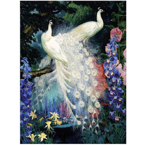 5D Diamond Embroidery white peacock Diy Diamond Painting Cross Stitch Full square paintings by number rhinestone MosaicZP-2639