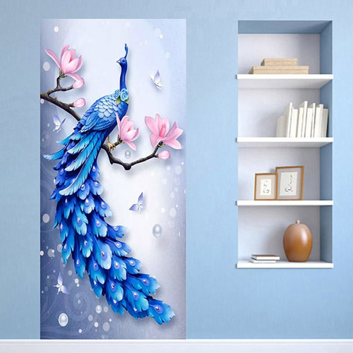 3D Stereo Relief Blue Peacock Photo Murals Wallpaper Living Room Bedroom Study Door Sticker PVC Waterproof Wall Paper Home Decor