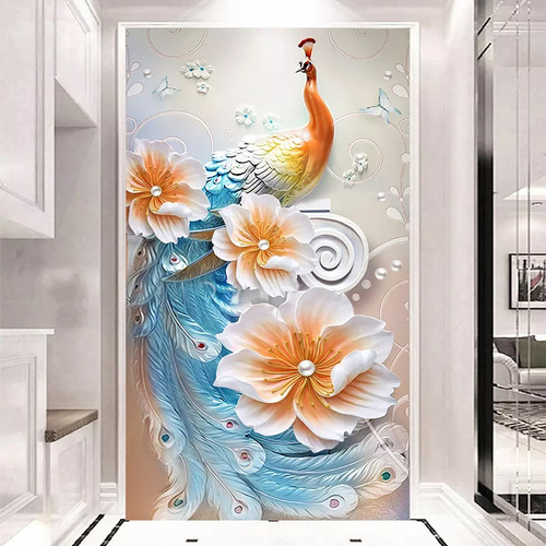 Photo Wallpaper 3D Stereo Relief Modern Simple Peacock Murals Living Room Dining Room Entrance Background Wall Decor Wall Papers