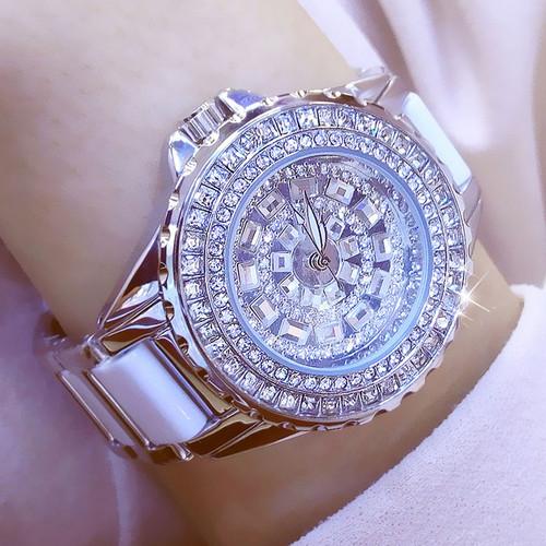 Luxury Brand Fashion Jewelry Bracelet Stainless Steel Ceramic Rhinestone Watches Women Ladies Watch Quartz Wristwatch For Gift