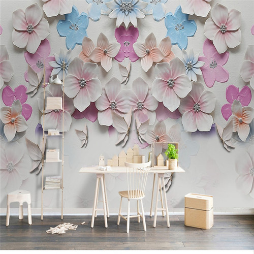 Custom 3D Photo, Peach Blossom Stereo Relief, Pink Romantic Rose Wallpaper, Dining Room Sofa TV Wall Bedroom 3D Photo Wallpaper
