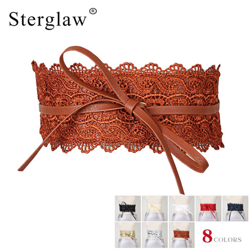 220x10cm Casual Sexy slim belts corset female brown girdle cummerbund women's fashion accessories Bowknot lace wide belt N161
