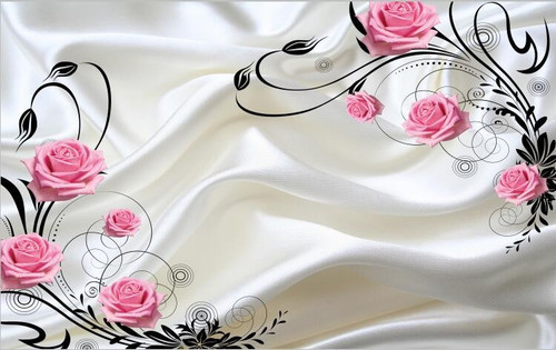 5D wallpaper wallpaper TV background wall painting silk pink rose beautiful marriage room simple flower vine living room