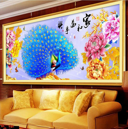 DIY Full Diamond Painting,5D Home and blue peacock Round Diamond Embroidery ,Cross Stitch,Rhinestone Diamond Mosaic Sale