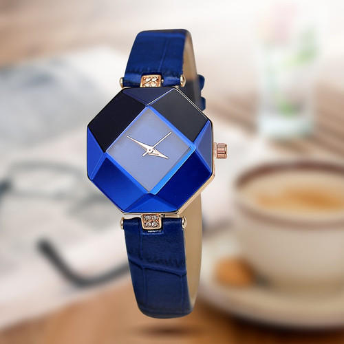 jewelry watch fashion gift table women Watches Jewel gem cut black geometry quartz wristwatches