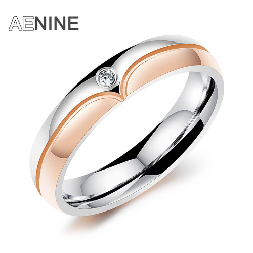 JeeMango Black & Rose Gold Color Stainless Steel Classic Lovers Wedding Rings For Women Jewelry Engagement Couple Rings OGJ505