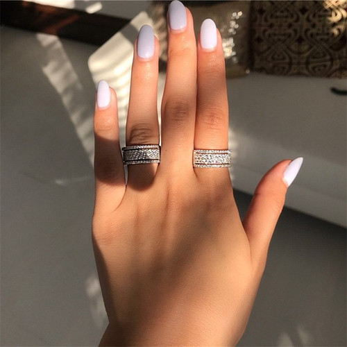 Charming Promise ring Micro Pave AAAAA Cz Stone Real 925 Sterling silver Engagement wedding band ring for women Party Jewelry